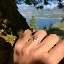 Ring & Band 14K Rose Gold Over Marques Cut 1.50ct Morganite Wedding & Engagement