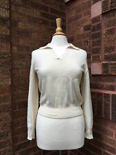Lord and Taylor cashmere sweater, collar, polo, ivory, cream, off white, small