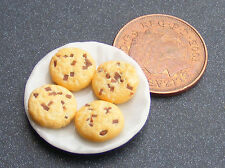 1:12 Scale 4 Loose Biscuits On A Ceramic Plate Tumdee Dolls House Accessory PL99