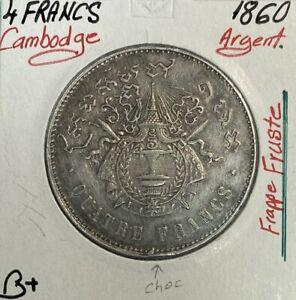 CAMBODGE - 4 FRANCS 1860 - Pièce de Monnaie en ARGENT // Qualité : B