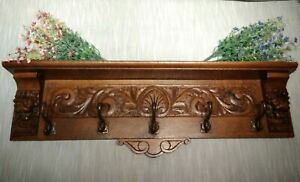 Antique French Carved Coat Hat Wall Rack Kitchen Lion Bronze Hooks Beautiful!