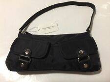 NWT BANANA REPUBLIC Black Nylon Leather Mini Pouch Bag Purse New