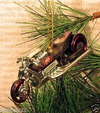 Drag Bike Chopper Motorcycle CHRISTMAS ORNAMENT Black/Red/Silver XMAS