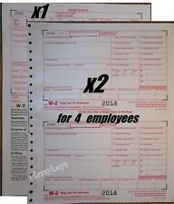 2018 IRS Tax Forms W-2 Wage Stmts CARBONLESS for 4 employees + (1) W3 -->>NO Env