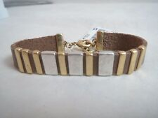 Lucky Brand silver/gold tone slide charms~tan bracelet, NWT
