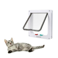 White Abs 4-Way Magnetic Lockable Cat Kitten Dog Pet Flap Door Small Medium12lb