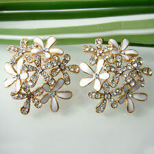 Navachi White Enamel Leaves Flower 18K GP Crystal Ear Stud Earrings BH2510