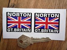 NORTON Great Britain Union Jack Style Stickers 50mm Pair Manx Dominator Atlas