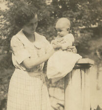 VINTAGE PUT ON A PEDESTAL BABY MOTHERS LOVE ARTISTIC PRECARIOUS FINE OLD PHOTO
