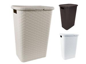 Wäschebox in Flechtoptik 65l - 9 Farben - Wäschekorb Standwäschekorb Rattan