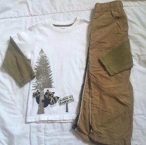 Gymboree Wilderness Club raccoon bandit top Grizzly Lakes jogger pants Sz 4T - 4