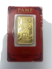 .9999 GOLD 1oz Bar 2016 Year Of The Monkey PAMP