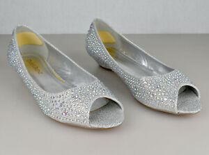 Michaelangelo Davids Bridal Low Wedge Peep Toe with Rhinestones Style AJUSTIN10