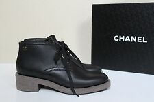 New sz 9 / 39.5 CHANEL Black Leather COMBAT Logo Lace up BOOTS Low Heel Shoes