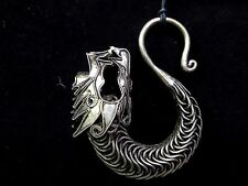 Vintage Style Silver Plated Hmong Miao Hill Tribe Handmade Large Dragon Pendant
