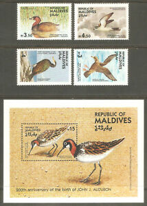 MALDIVE ISLAND Sc# 1079 - 1083 MNH FVF Set-4+Souv Sht Audobon Birds Shearwater