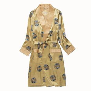 Men's Long Silk Robe Silk Bathrobe Nightwear for Winter & Fall with Lining Gold