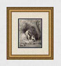 "Beautiful 1800s Gustave DORE Woodcut ""Adam & Eve in Paradise"" SIGNED Framed COA"