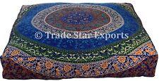 Large Mandala Box Floor Cushion Cover Indian Ethnic Cotton Square Throw Pillows