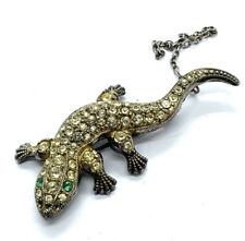 Antique Art Deco Sterling Silver and Paste Lizard Brooch #109