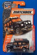 LONG CARD 2017 Matchbox BLACK 1997 LAND ROVER DEFENDER 110 - Mint on card!