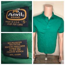 Vintage Anvil Brand Polo T-shirt Deadstock NOS small 50/50 paper thin soft GREEN