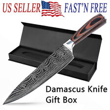 NEW 8 Inch Damascus Pattern Chef Knife Carbon Steel Kitchen Cutter Wooden Handle