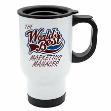 The Worlds Best Marketing Manager Thermal Eco Travel Mug - White Stainless Steel