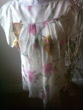 Pure Silk Miss Sixty  Cream Floral Top szXS. Feminine. Sheer.