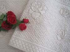 Three Pieces Set Rose Double Embroidery Cotton Quilted Anti-Slip Beige Mat Rug