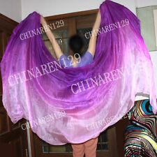 HAND TIE-DYE BELLY DANCE 100% SILK VEILS purple to light purple +carry bag 3355