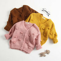 Kids Baby Girls Ball In Hand Down Sweater Solid Button Coat Knit Tops Cardigan