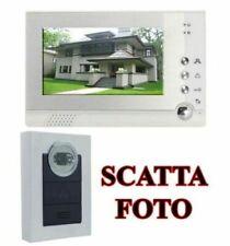 """VIDEOCITOFONO 7"""" COLORI MONITOR LCD TELECAMERA 6 LED INFRAROSSI INTERFONO FOTO"""