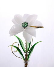 Cute Decoration For Any Room White/Green Glass Flower Gift For Any Occasion