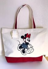 """Uniqlo """"Mickey Travels"""" White & Red Minnie Mouse Tote Bag Nwt"""