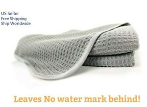 Waffle Weave Grey Matter Microfiber Drying Cleaning Towel Auto Detailing Glass