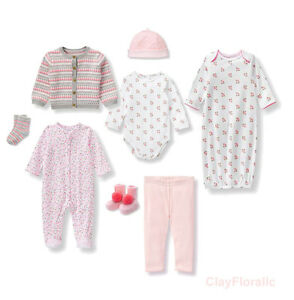 7 Janie Jack floral girl newborn 3 month bodysuit Cardigan Pant bootie gown hat