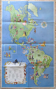 1966 Standard School Broadcast Pictorial Map of Pan-America North South Dances