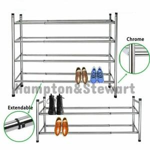 Chrome Frame Stackable Extendable Shoe Rack Storage Organiser Expandable Stands