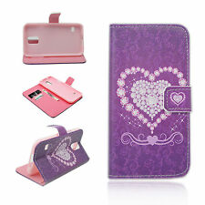 Heart Leather Flip Wallet Phone Shell Cover Case For Samsung Galaxy S5 S V i9600