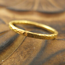 Handmade Turkish Designer Hammered Stack Band Ring 24K Gold Over Sterling Silver