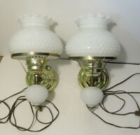 Vintage Hobnail White Milk Glass & Brass * 2 Wall Mount Sconce Lamp Lights* 14""