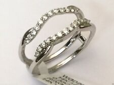Clearance White Gold Design Solitaire Enhancer Diamonds Ring Guard Wrap Jacket