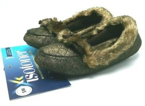 Isotoner Women's Memory Foam Slippers Gold Sparkle Brown Faux Fur US Small (5-6)