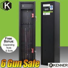 KENNER 6 Rifle Storage Gun Safe Firearm Lockbox Steel Cabinet BLACK 5