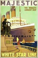 White Star Line 1922 SS.Majestic Ship Vintage Poster Print Retro Style Art