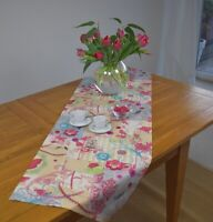 Tischläufer Provence Baumwolle 50x150 cm beige pink Blumenmotiv aus Frankreich