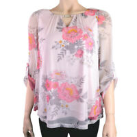EX.DOROTHY PERKINGS DARK PINK FLORAL PRINT MESH TOP BLOUSE Sizes 6 to 22