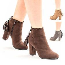 Womens Girls Block Heel Tassel Suede Shoes Zip Up Ankle Sock Fit Boots UK Size