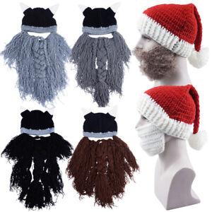 Adlut Men Christmas Hats Wool Cap Beard Winter Warm Ear Crochet Knit Beanie Mask